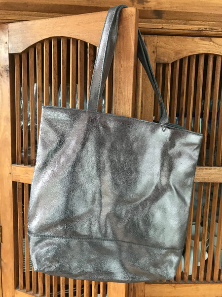 Pewter Metallic Tote Bag