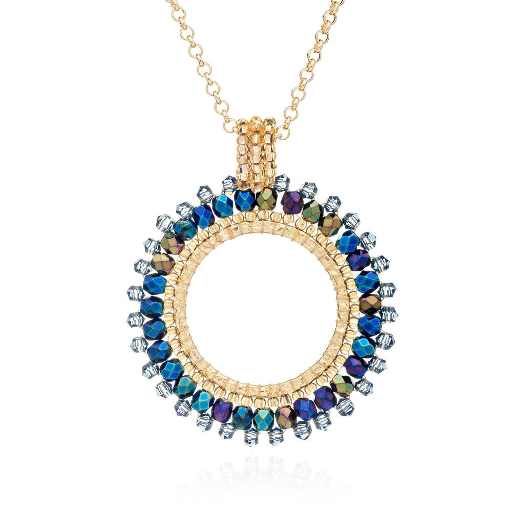 Blue Midnight Halona Crystal Hoop Necklace