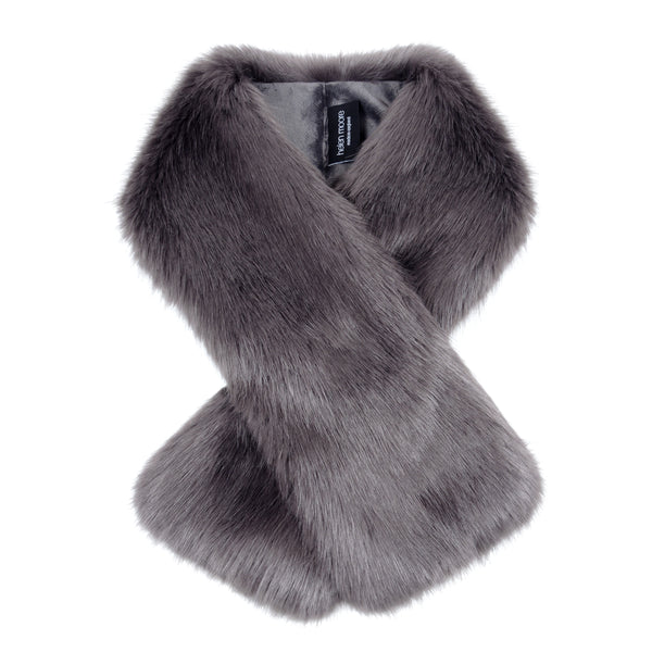 Grey Steel Faux Fur Tippet Scarf