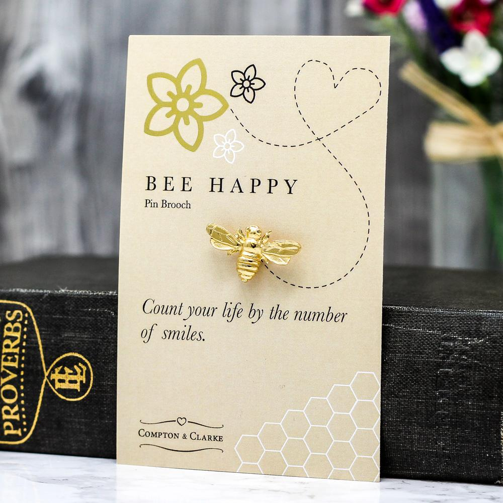 Bee Happy Gold Plated Brooch