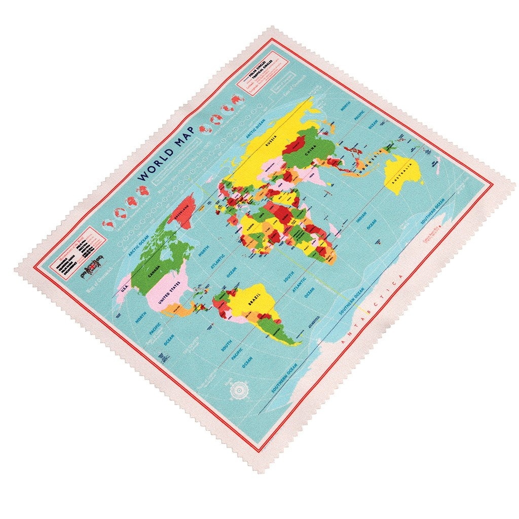 World Map Glasses Cleaning Cloth