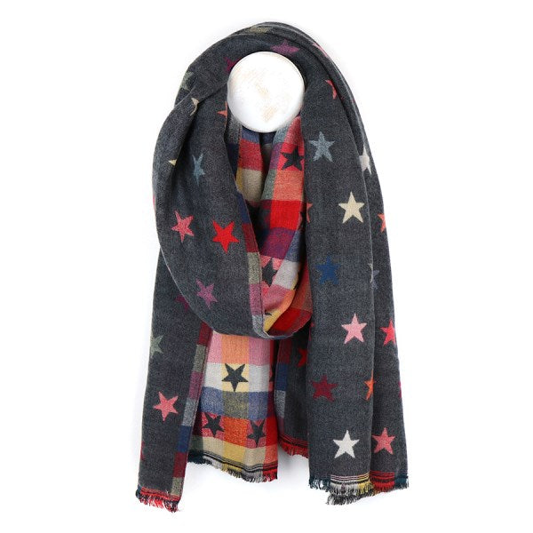 Grey Reversible Multicoloured Star & Check Scarf