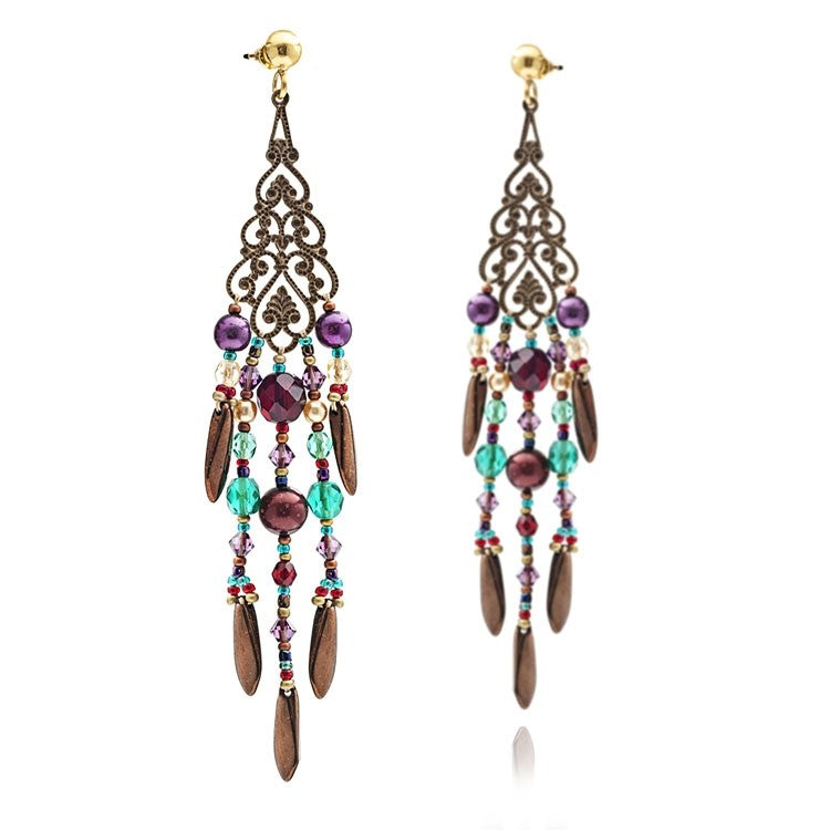 Turquoise & Purple Salome Chandalier Earrings