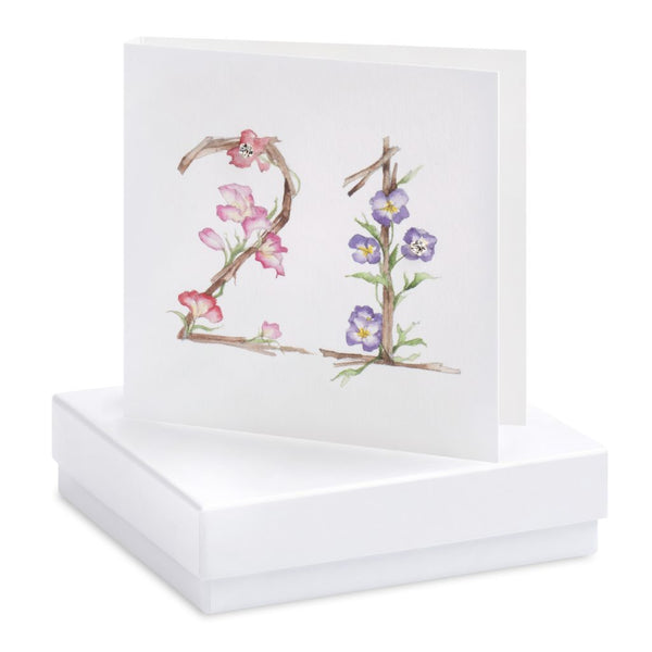 Boxed Happy 21st Birthday Silver Earring Card