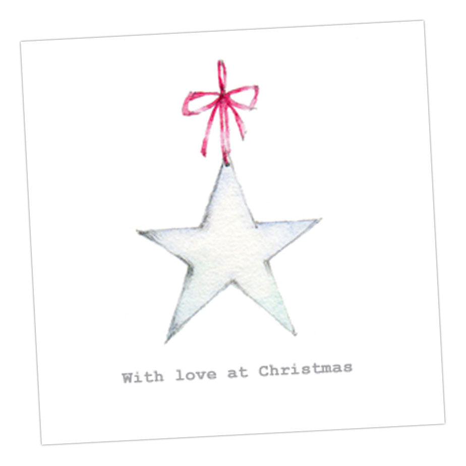 Boxed Christmas Star Silver Earring Card