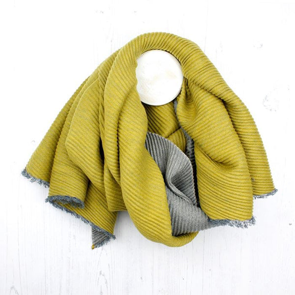 Mustard And Grey Pleated Reversible Scarf