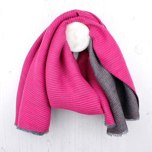 Pink And Grey Pleated Reversible Scarf