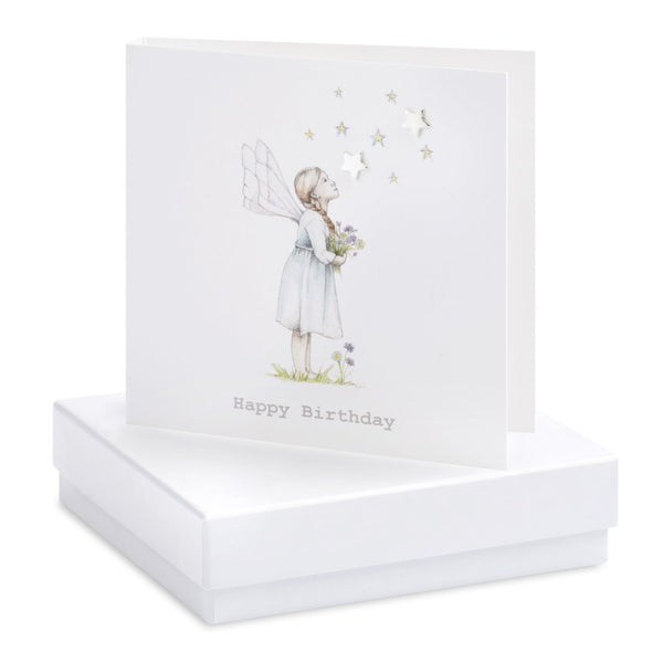 Boxed Flower Fairy Stargazer Silver Earring Card