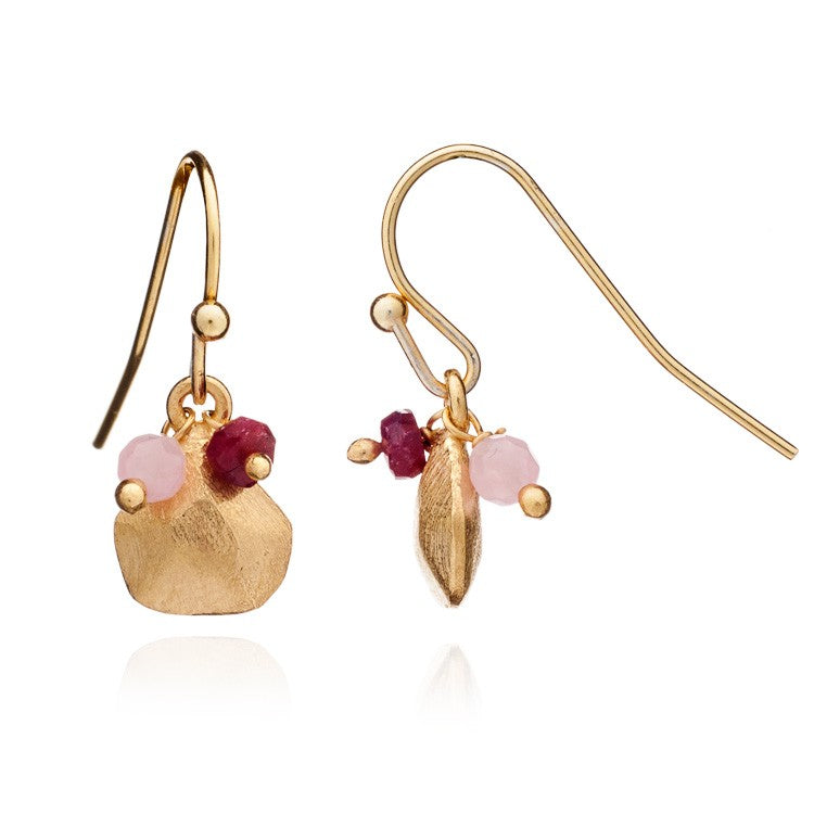 Pink Rose Quartz & Garnet Alaya Charm Earrings