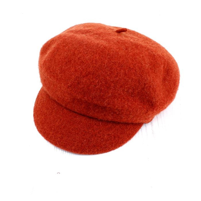 da5dd24a93b82 Burnt Orange Wool Baker Boy Winter Hat