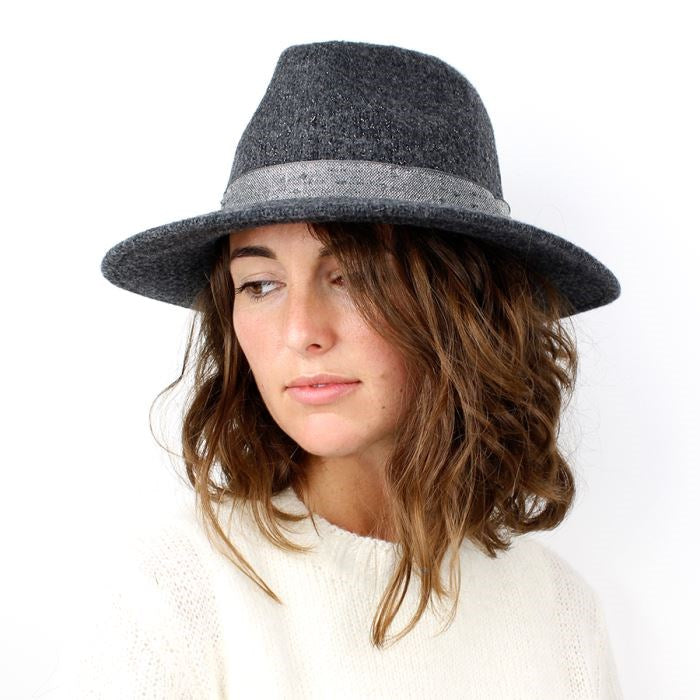 Grey Sparkle Fedora Hat