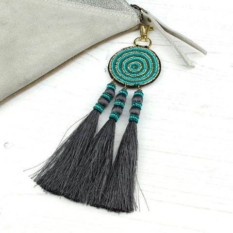 Turquoise & Gold Beaded Bag Charm With Tassels