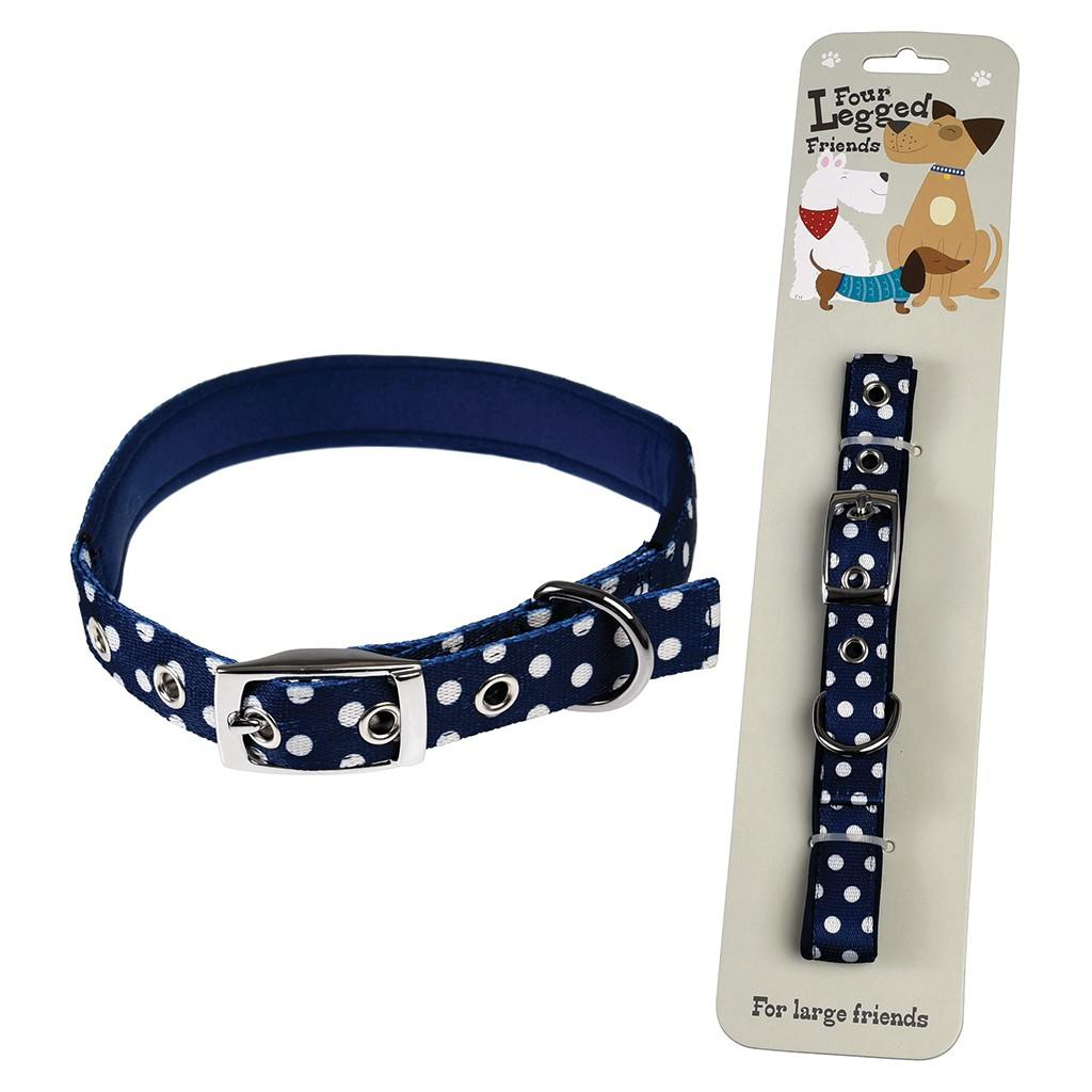 Large Blue Polka Dot Dog Collar
