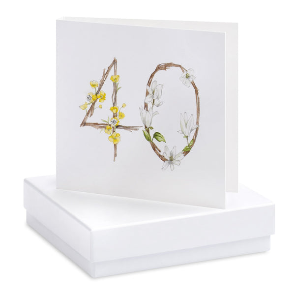 Boxed 40th Birthday Silver Earring Card