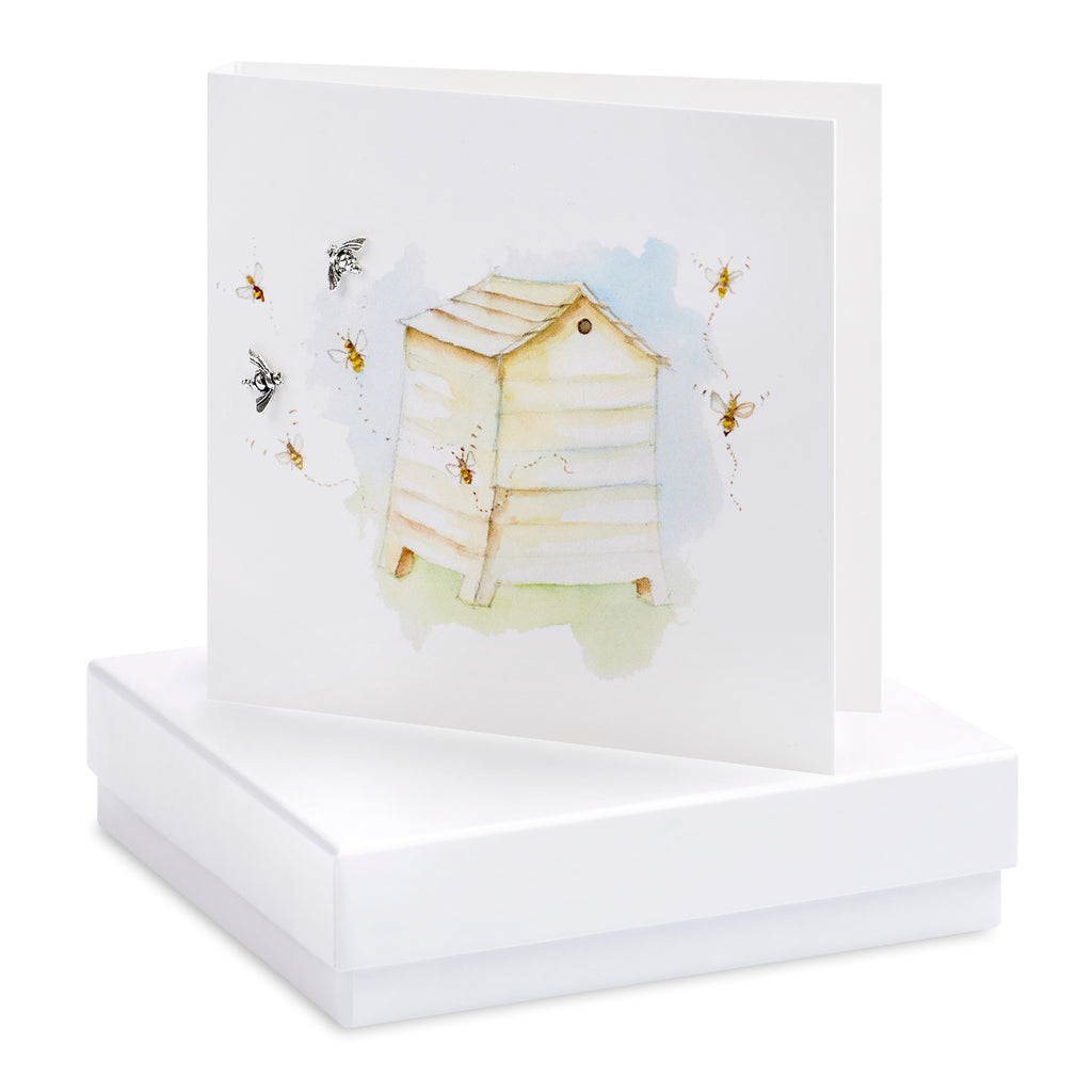 Boxed Beehive Silver Earring Card