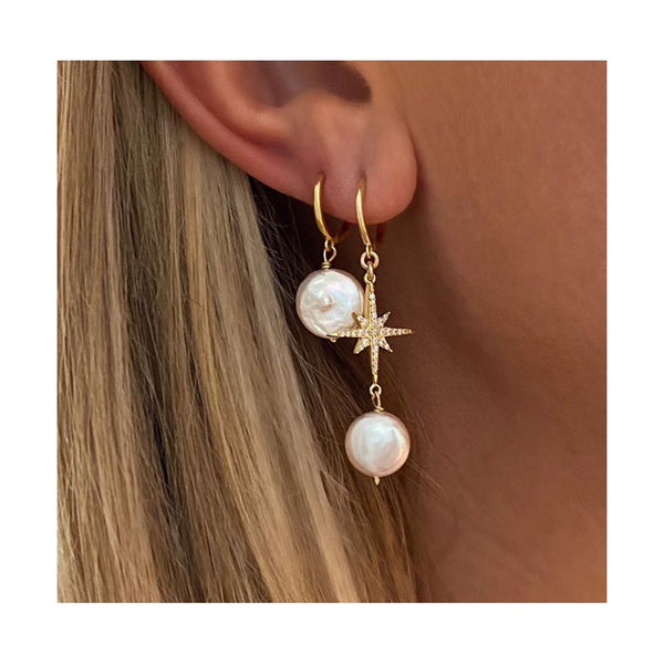 Gold Bella North Star Huggies Earrings