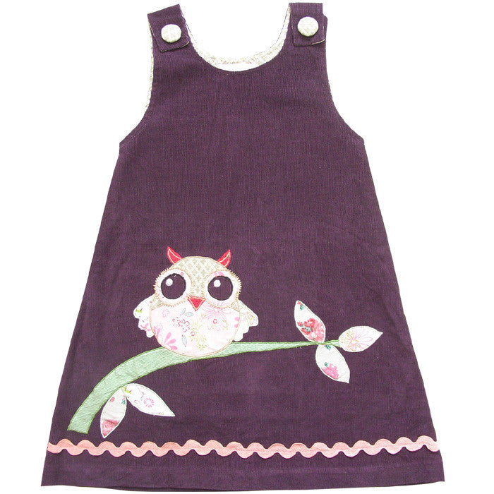 Purple Corduroy Dress with Owl Applique