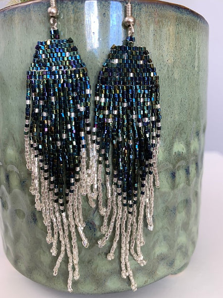 Iridescent Peacock & Silver Beaded Earrings