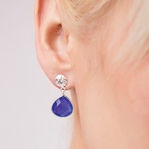 Blue Iolite Eos Silver Drop Earrings
