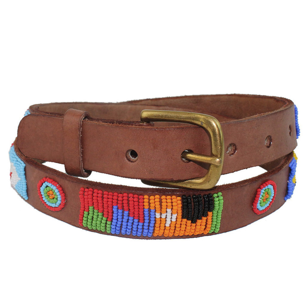 Multi Charu Beaded Leather Belt