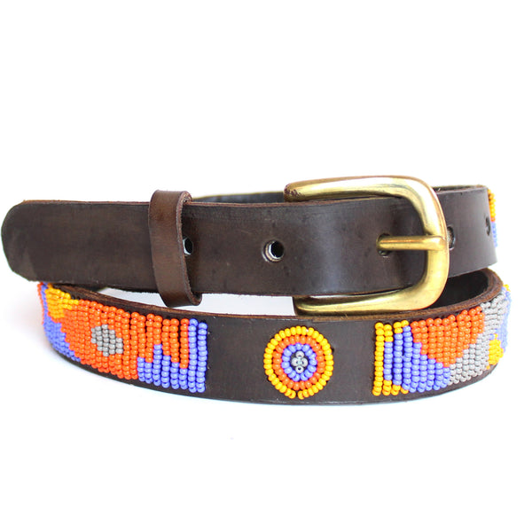 Orange & Blue Charu Beaded Belt