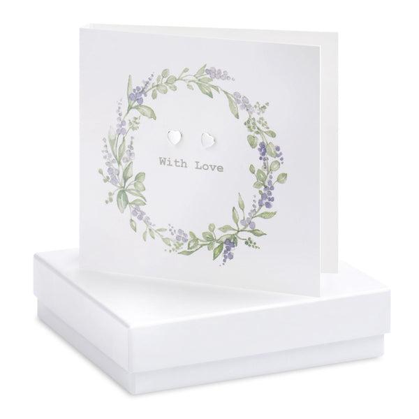 Boxed Lavender Wreath Silver Earring Card