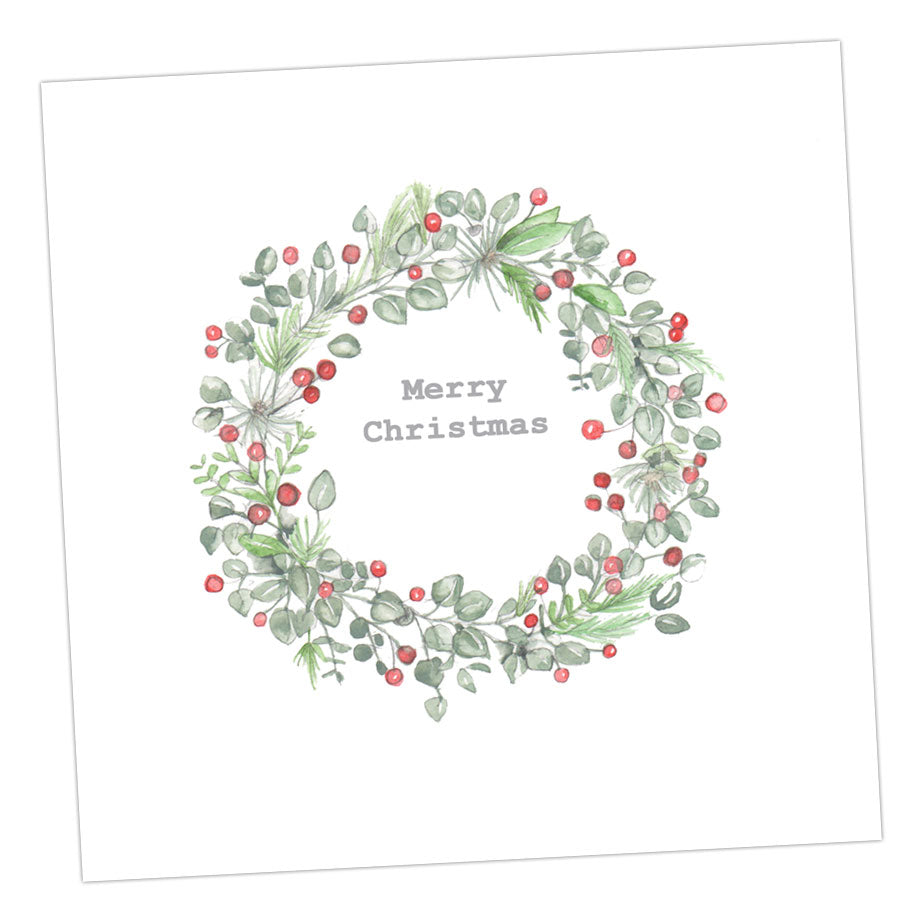 Boxed Christmas Wreath Silver Earring Card