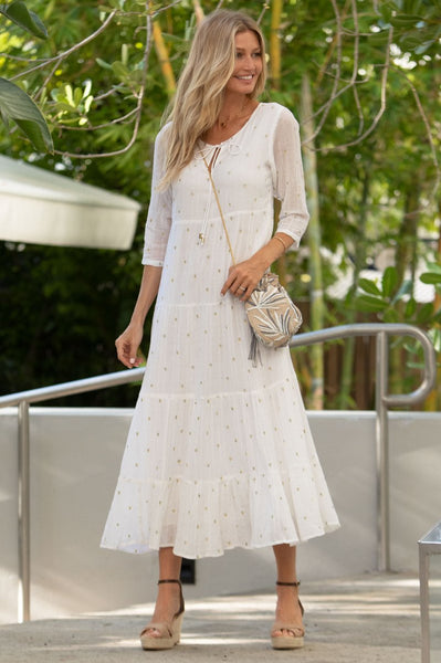 White Crystal Organic Cotton Embroidered Midi Dress