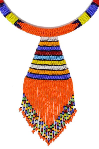 Orange Nala Beaded Maasai Necklace