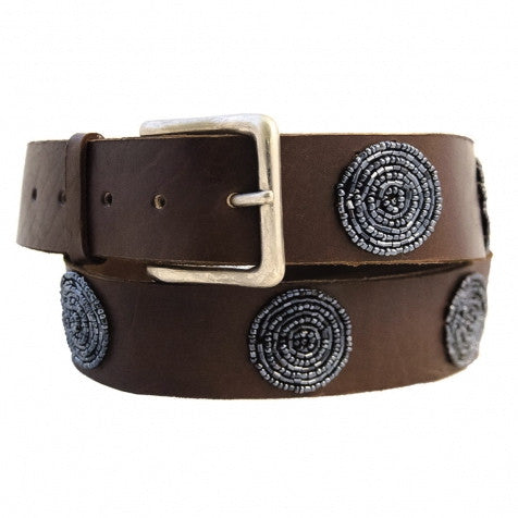 Grey Disc Bullet Beaded Leather Belt