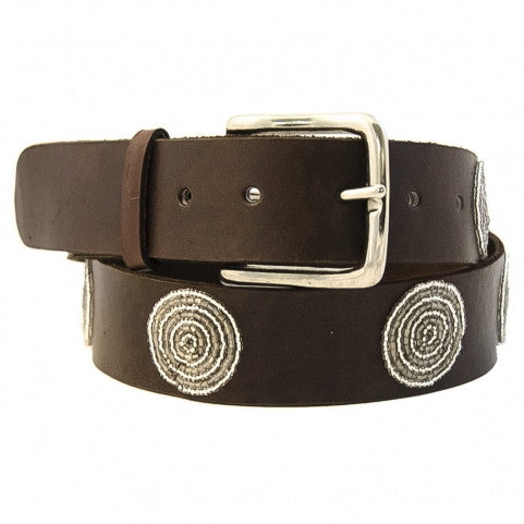 Silver Disc Beaded Leather Belt