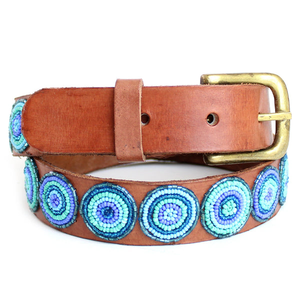 Blue Duara Disc Beaded Leather Belt
