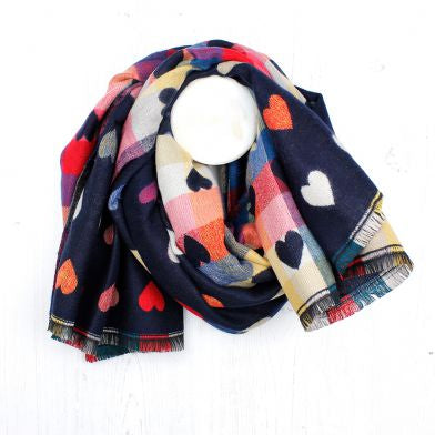 Blue Navy Reversible Multicoloured Heart & Check Scarf