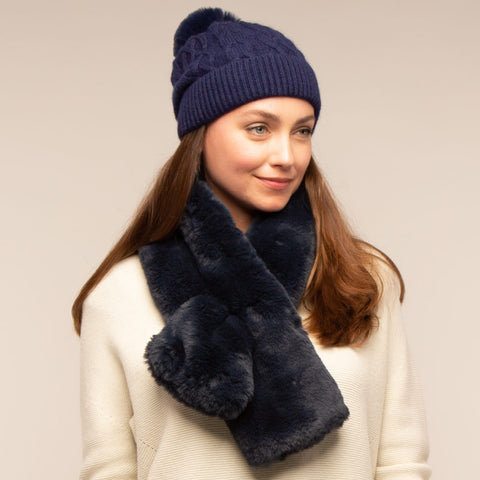 Blue Navy Mia Faux Fur Scarf