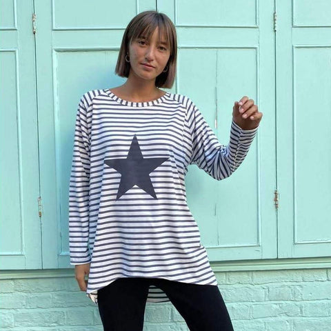 Navy Striped Robyn Top With Giant Star