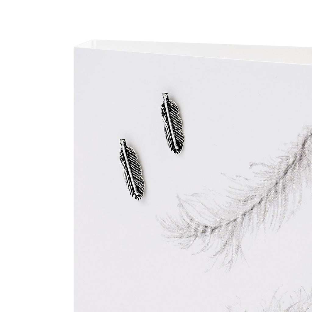 Boxed Feathers Silver Earring Card