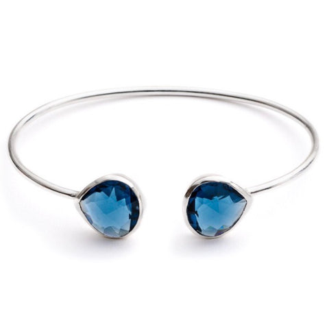 Blue Iolite Silver Lashea Teardrop Bangle