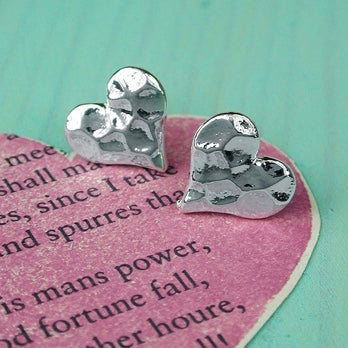Silver Plated Textured Heart Stud Earrings