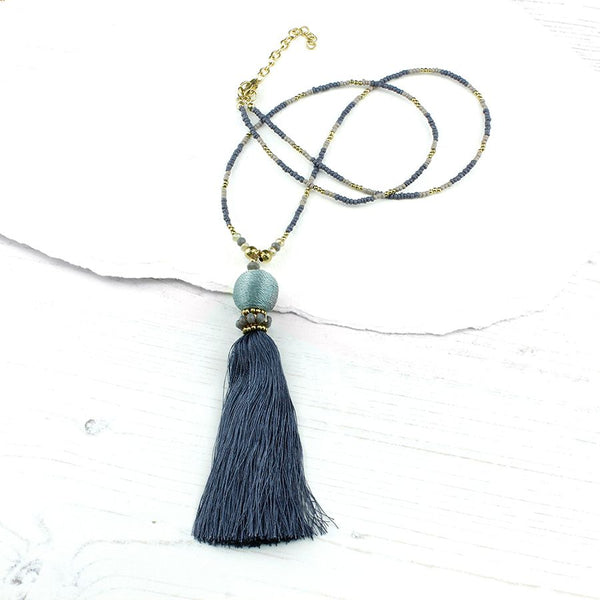 Grey Blue Beaded Tassel Necklace