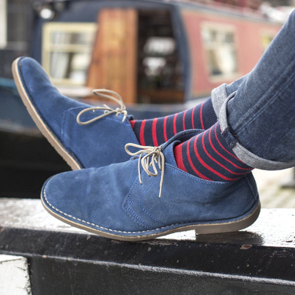 Navy & Red Striped Mens Socks