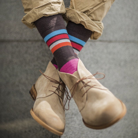 Hot Chocolate Striped Mens Socks