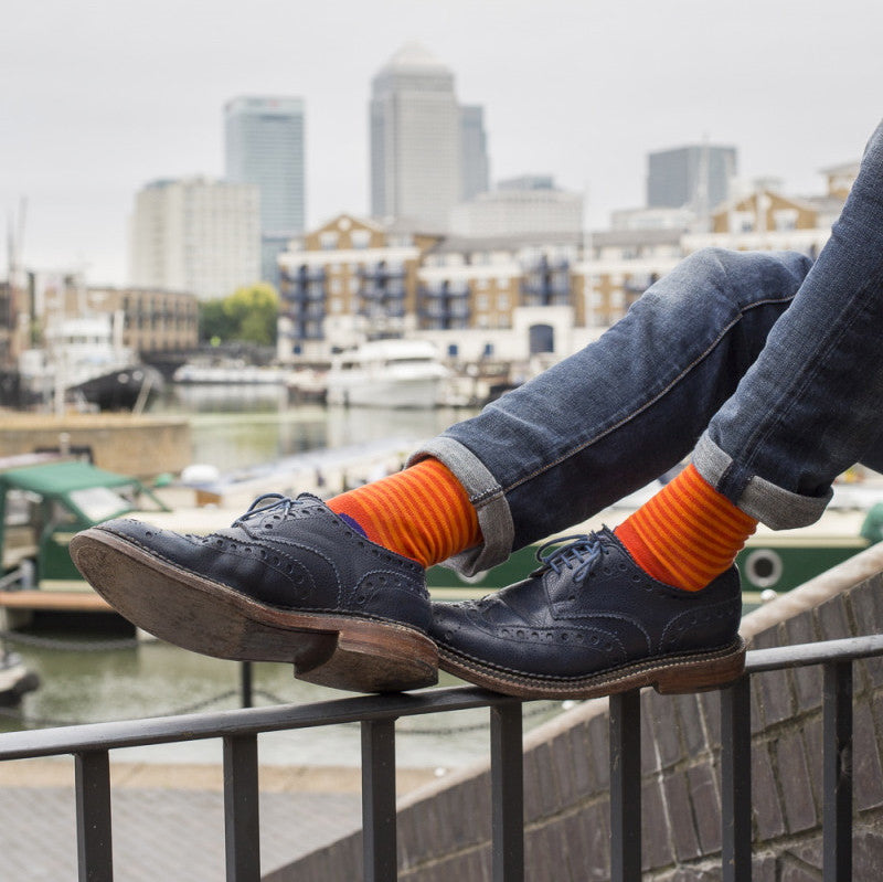 Orange & Purple Spots & Stripes Mens Socks