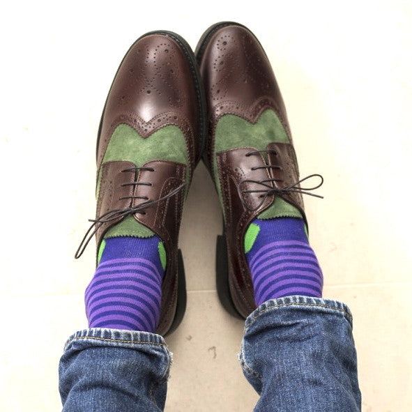 Purple & Green Spot & Stripe Mens Socks