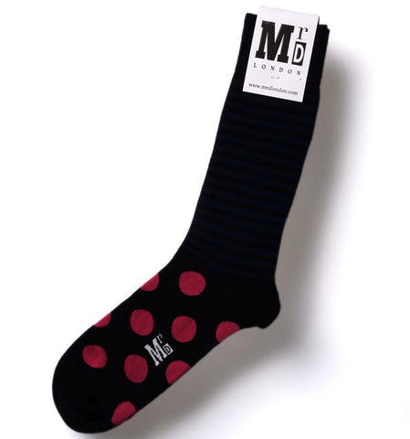 Navy & Fuchsia Spots & Stripes Mens Socks