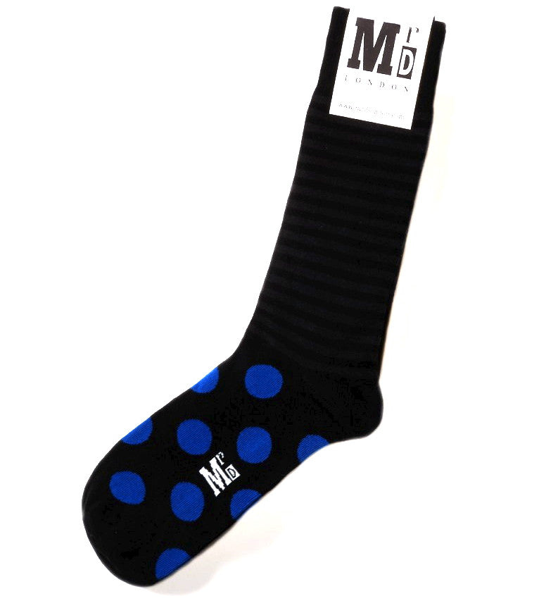 Black & Blue Spot & Stripe Mens Socks
