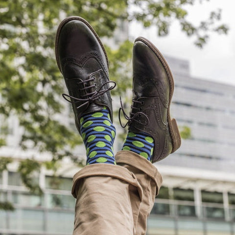 Navy Blue & Green Spots & Stripes Mens Socks