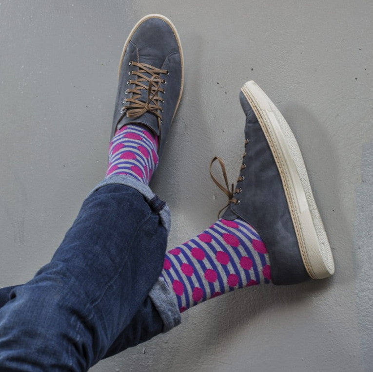Purple/Pink Spots/Stripes Mens Socks