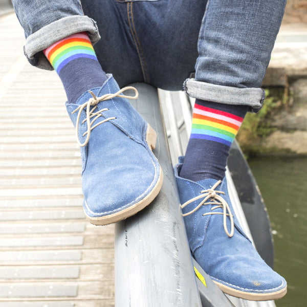 Navy Rainbow Mens Socks