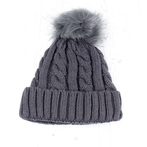 Grey Navy Cable Knit Faux Fur Bobble Hat