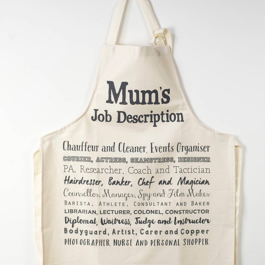 Mum's Job Description Poem Apron